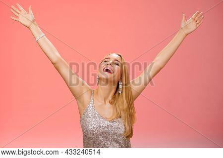 Waist-up Carefree Happy Girl Fulfill Dream Raising Hands Up Sky Joyfully Close Eyes Smiling Celebrat