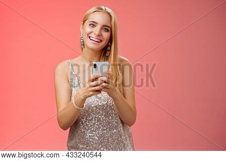 Charming Elegant Young 25s Woman In Silver Dress Brilliant Accessorize Holding Smartphone Messaging