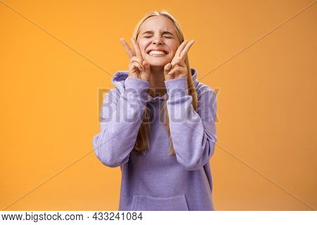Excited Lucky Charming Friendly Blond Girlfriend Having Fun Celebrating Perfect News Best Score Rece