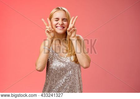 Excited Carefree Happy Cheerful European Blond Woman Have Fun Drink Cocktails Dancing Partying Night