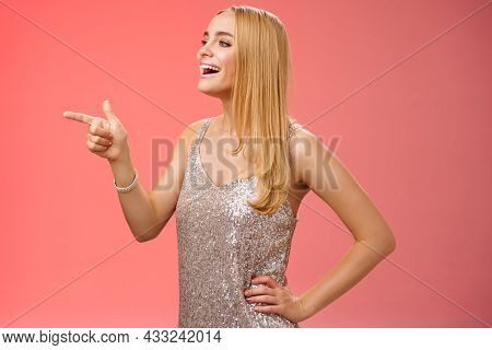 Stylish Gorgeous Young Blond Caucasian Girlfriend In Silver Stylish Evening Dress Turning Profile Le