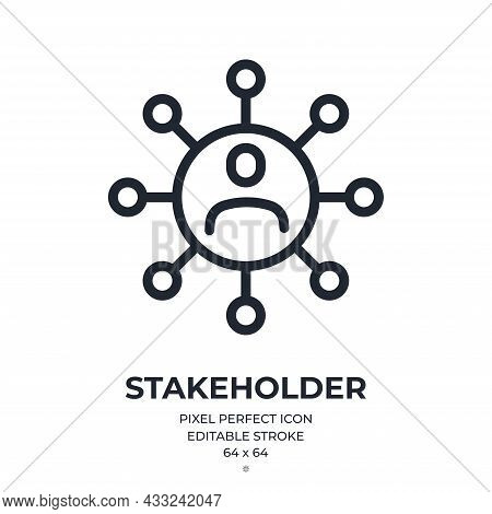 Stakeholder Editable Stroke Outline Icon Isolated On White Background Flat Vector Illustration. Pixe