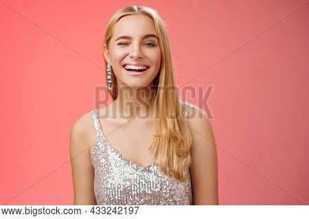 Carefree Joyful Charming Cheeky Blond Woman Party All Night Long Have Fun Smiling Happily Enjoying A