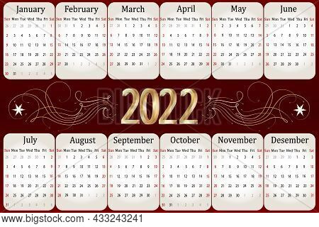 Calendar For 2022 With Gold Decor.calendar For 2022 On Colored Background With Gold Decor In Vector