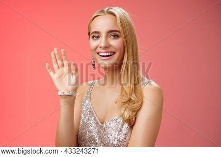 Waist-up Studio Shot Friendly Attractive Elegant Tender Blond Woman Say Hi Waving Raised Hand Greeti