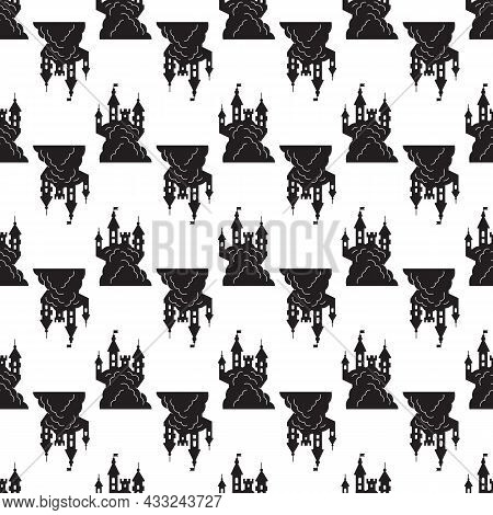 Scary Halloween Castle Pattern Seamless Background Texture Repeat Wallpaper Geometric Vector
