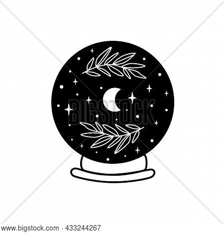 Moon Into Crystal Ball. Celestial Moon, Stars, Floral Branch. Mystical Moon Witch Graphic Element Is