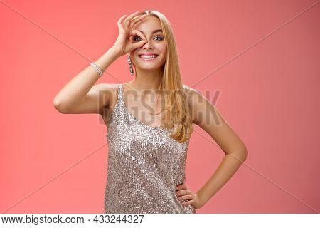 Charming Elegant Blond European Carefree Woman In Silver Glittering Evening Dress Show No Problem Ok