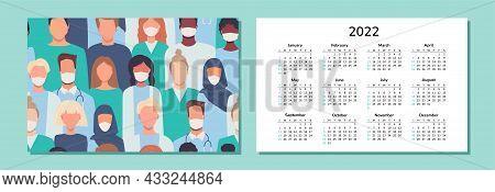 Horizontal Calendar 2022. Doctors. Happy New Year. Wall Desk Table Pocket Calendar With Medical Staf