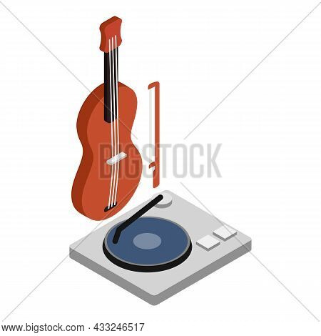 Musical Equipment Icon Isometric Vector. Wooden Classic Violin And Record Player. Music Concept, Hob