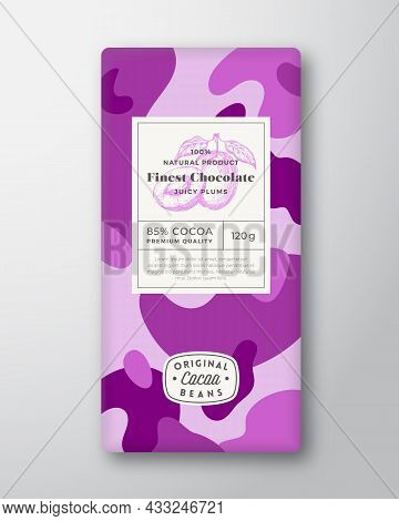 Plums Chocolate Label. Abstract Shapes Vector Packaging Design Layout With Realistic Shadows. Modern