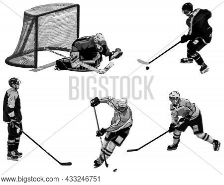 Ice Hockey. The Goalkeeper Protects The Goal. Hockey Players Are Actively Playing On The Ice. Ice Ho