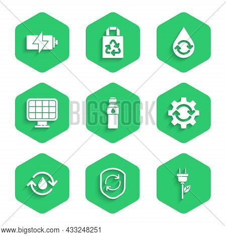 Set Bottle Of Water, Recycle Symbol Inside Shield, Electric Saving Plug Leaf, Gear And Arrows As Wor