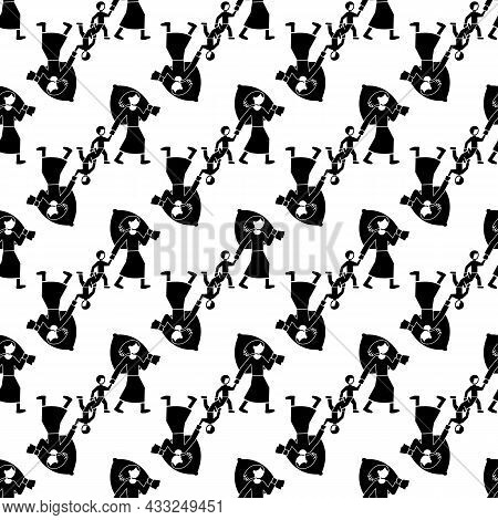 Migrant Mother Kid Pattern Seamless Background Texture Repeat Wallpaper Geometric Vector