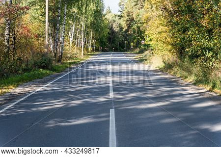 View Of An Asphalt Road With Markings And Road Signs Through A Deciduous Forest On A Sunny Autumn Da