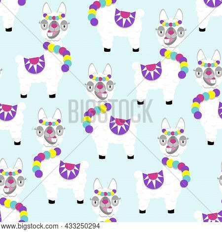 Pattern Of Funny Lama Alpaca On Blue Background. Flat Image Of Cute And Funny Animal.