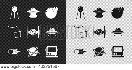 Set Satellite, Ufo Flying Spaceship, Planet, Comet Falling Down Fast, Satellites Orbiting The Planet