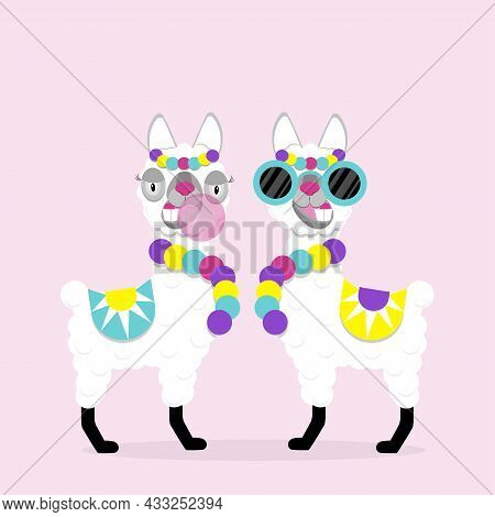 Funny Lamas Alpaca With Glasses And Gum On Pink Background. Flat Image Of Cute And Funny Animal.