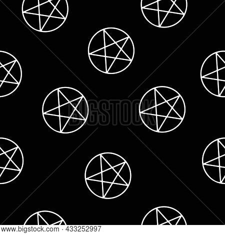 Mystical Seamless Pattern On Black Background. White Line, Spirituality And Pentagram, Occultism Phi