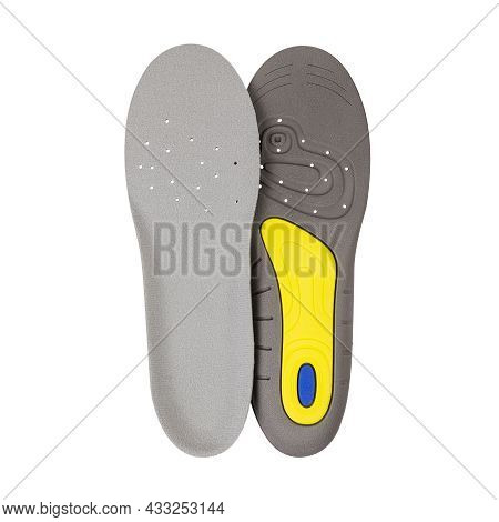 Orthopedic Insoles Isolated On White Background. Two Sides Of An Orthopedic Insole In One Photo