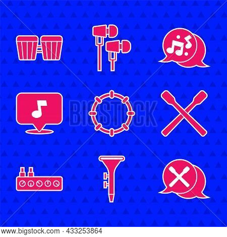 Set Tambourine, Drum And Drum Sticks, Sound Mixer Controller, Music Note, Tone, And Icon. Vector