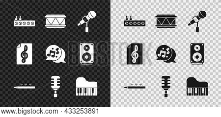Set Sound Mixer Controller, Drum, Microphone, And Drum Sticks, Grand Piano, Treble Clef And Music No