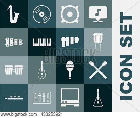 Set Guitar, Drum Sticks, Stereo Speaker, Music Synthesizer, Xylophone, Musical Instrument Saxophone