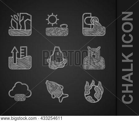 Set Glacier Melting, Dead Fish, Global Warming Fire, Polar Bear Head, Co2 Emissions Cloud, Rise Wate