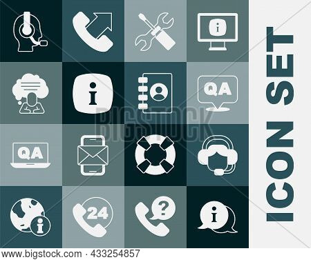 Set Information, Woman With Headset, Question And Answer, Screwdriver Wrench Spanner, Speech Bubble