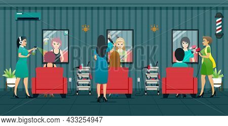 Beauty Salon Workers Are Providing Beauty Services To Women.