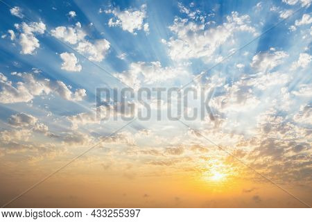 Beautiful Blue Sky With Clouds, Sunset And Sunbeams