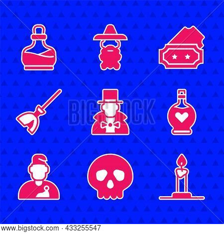 Set Magician, Skull, Burning Candle In Candlestick, Bottle With Love Potion, Wizard Warlock, Witches