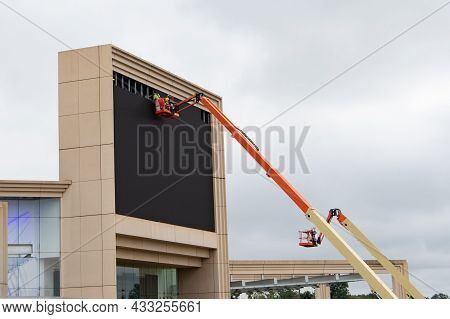 Hydraulic System Elevated Platform With Industry Work At High In A Boom Lift Repair
