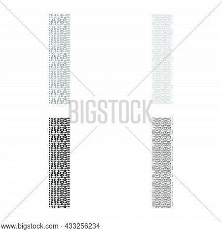 Tire Track Print Of Wheel Automobile Tyres Imprint Car Set Icon Grey Black Color Vector Illustration