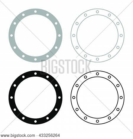 Rubber Gasket With Holes Grommet Seal Leakage O-ring Reten Set Icon Grey Black Color Vector Illustra