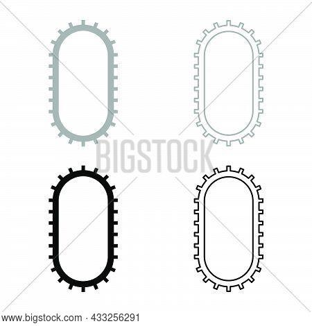 Strap For Engine Washing Machine Cambelt Shootless Belt Set Icon Grey Black Color Vector Illustratio