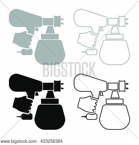 Spray Gun Holding In Hand Sprayer Using Arm Use Tool Atomizer Pulverizer Set Icon Grey Black Color V