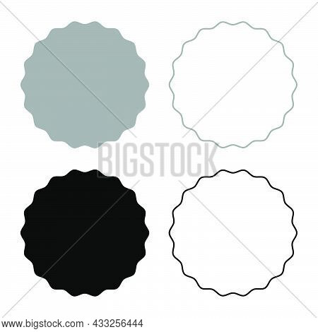 Round Element With Wavy Edges Circle Label Sticker Set Icon Grey Black Color Vector Illustration Fla