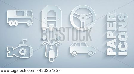 Set Scooter, Steering Wheel, Submarine, Car, Rafting Boat And Bus Icon. Vector