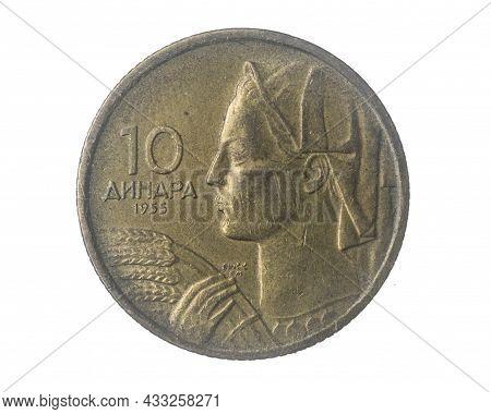 Yugoslavia Ten Dinara Coin On A White Isolated Background