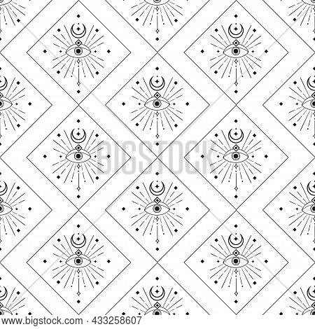 Abstract Background Seamless Pattern. Moon And Eye