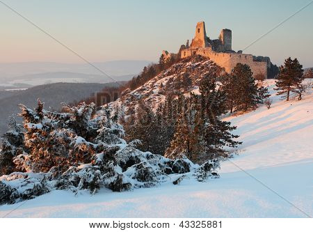The Ruins Of Castle Cachtice In Winter