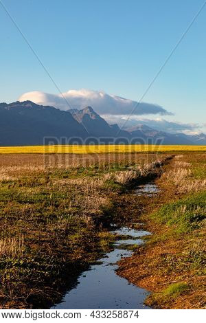 General view of countryside landscape with cloudless sky. environment, sustainability, ecology, renewable energy, global warming and climate change awareness.