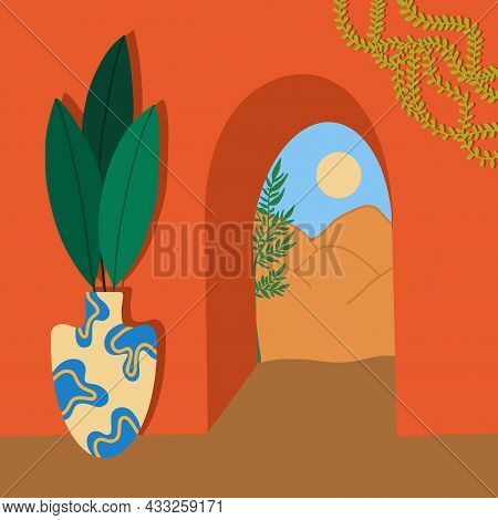 Modern Aesthetic Vector Illustration, Nature. Beautiful Landscape Through The Arch. Hand-drawn.