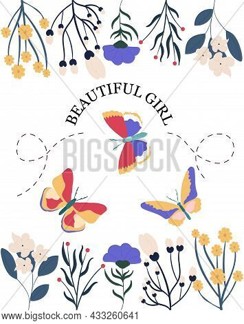Pretty Girl Slogan. Stylish Wallpaper For Your Phone. Picture For Printing On Womens Clothing. Beaut