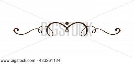Vector Vintage Line Elegant Divider And Separator, Swirl And Corner Decorative Ornament. Floral Line