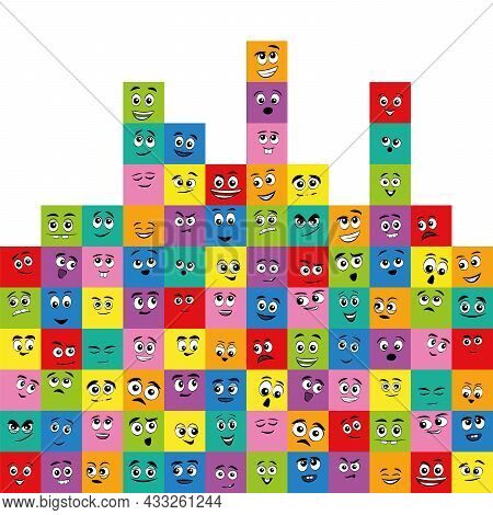 Colored Squares With Different Comic Faces - Happy, Funny, Sad, Grumpy, Scared, Friendly, Curious. F