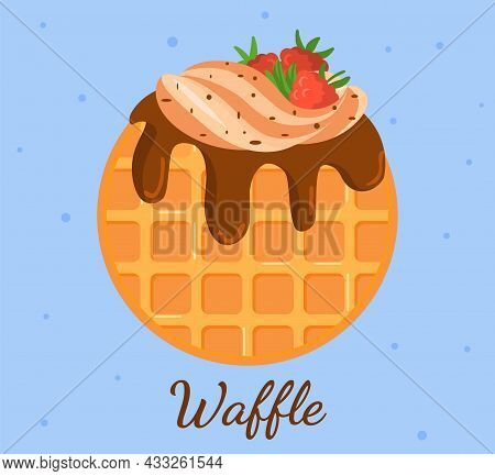 Waffle With Chocolate And Strawberries. Logo For Cafe, Restaurant. Delicious Food, Dessert, Sweets.