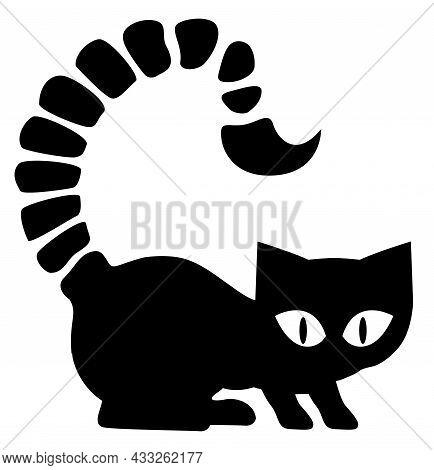 Scorpion Cat Silhouette Outline Black, Vector Illustration, Horizontal, Over White, Isolated