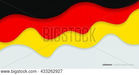 Black, Red, And Yellow Paper Cut Design. Germany Text Mean Is German Independence Day. Good Template